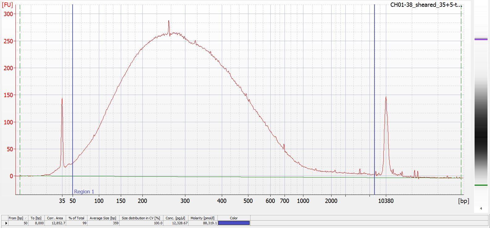 Sheared CH01-38 Bioanalyzer electropherogram