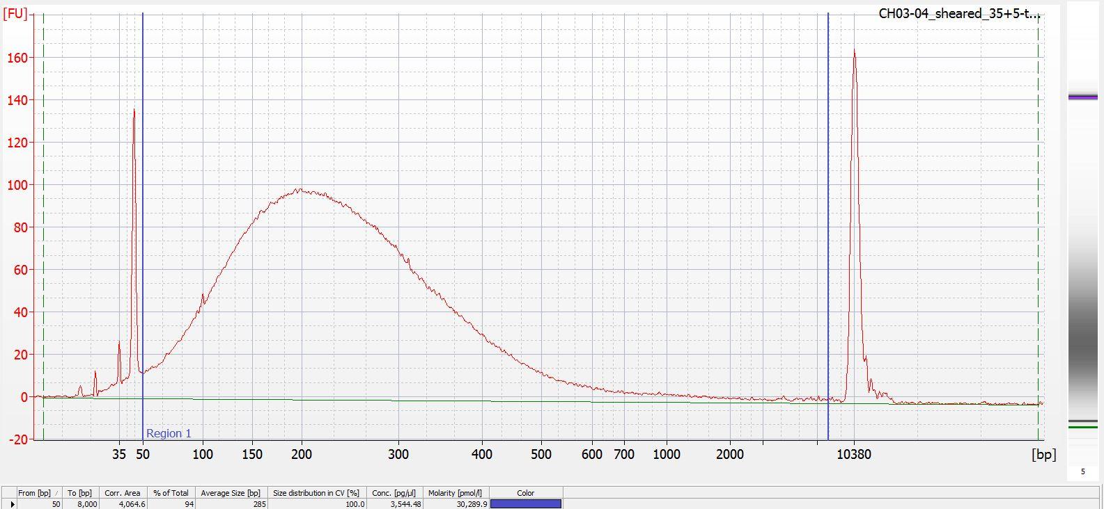 Sheared CH03-04 Bioanalyzer electropherogram