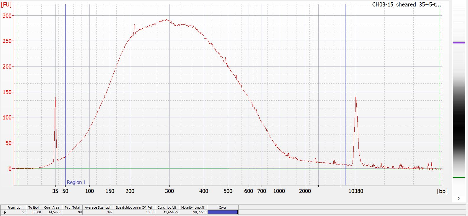 Sheared CH03-15 Bioanalyzer electropherogram