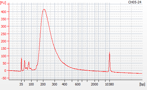 Bioanalyzer 2100 electropherogram for MBD BSseq library CH05-24
