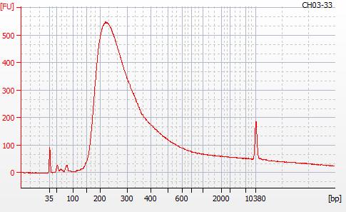 Bioanalyzer 2100 electropherogram for MBD BSseq library CH03-33