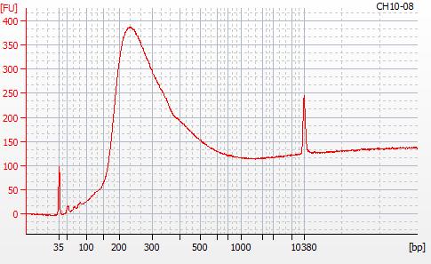 Bioanalyzer 2100 electropherogram for MBD BSseq library CH07-11