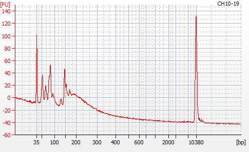Bioanalyzer 2100 electropherogram for MBD BSseq library CH10-19
